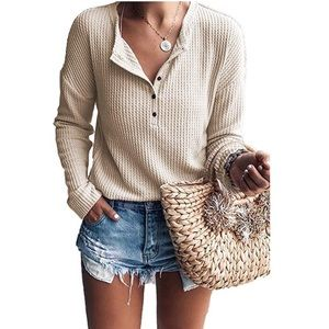 Waffle Knit Long Sleeve Henley Top